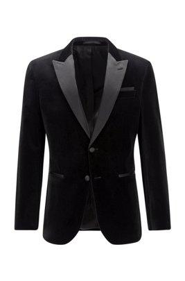Slim-fit tuxedo jacket in velvet with silk trims, Black