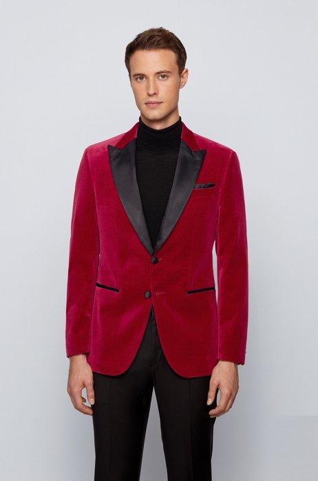 Slim-fit tuxedo jacket in velvet with silk trims, Dark Red