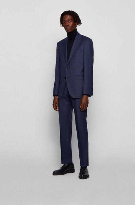 Regular-fit suit in patterned virgin-wool serge, Dark Blue
