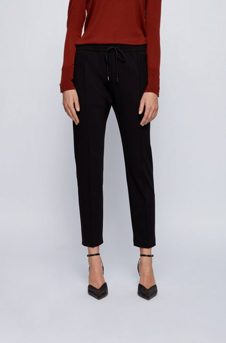 Relaxed-fit pants with drawstring waistband, Black