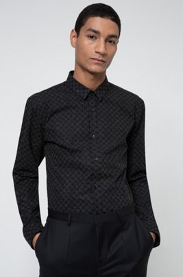 Cotton-canvas extra-slim-fit shirt with reflective motif, Black