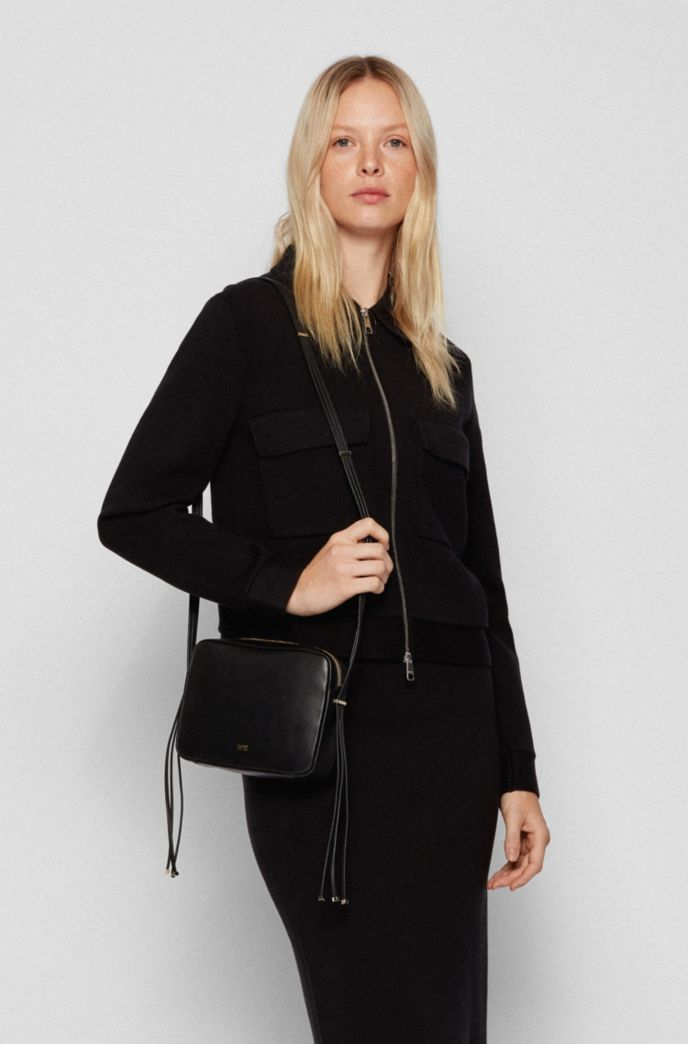 Nappa-leather crossbody bag with hardware-tipped straps