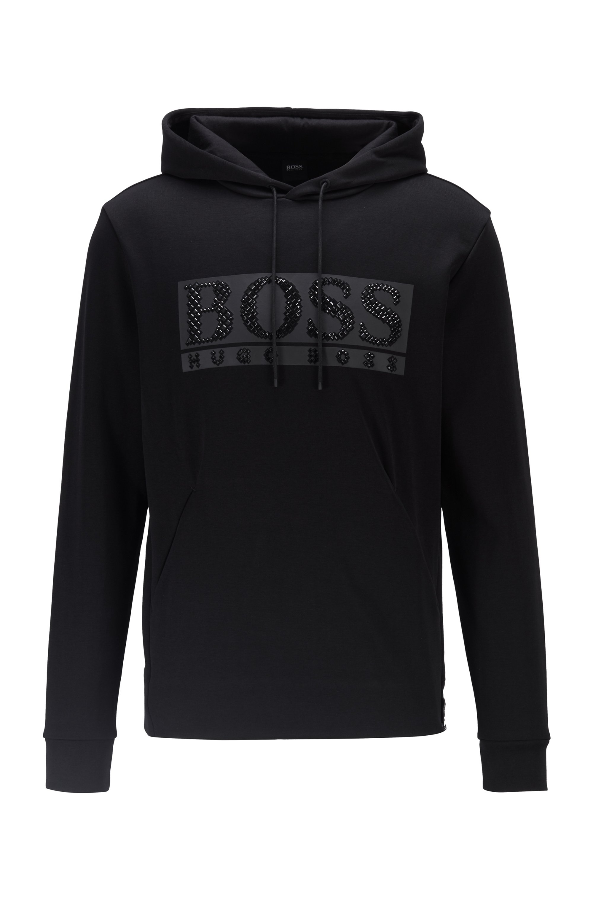 Cotton-blend hooded sweatshirt with rhinestone logo, Black