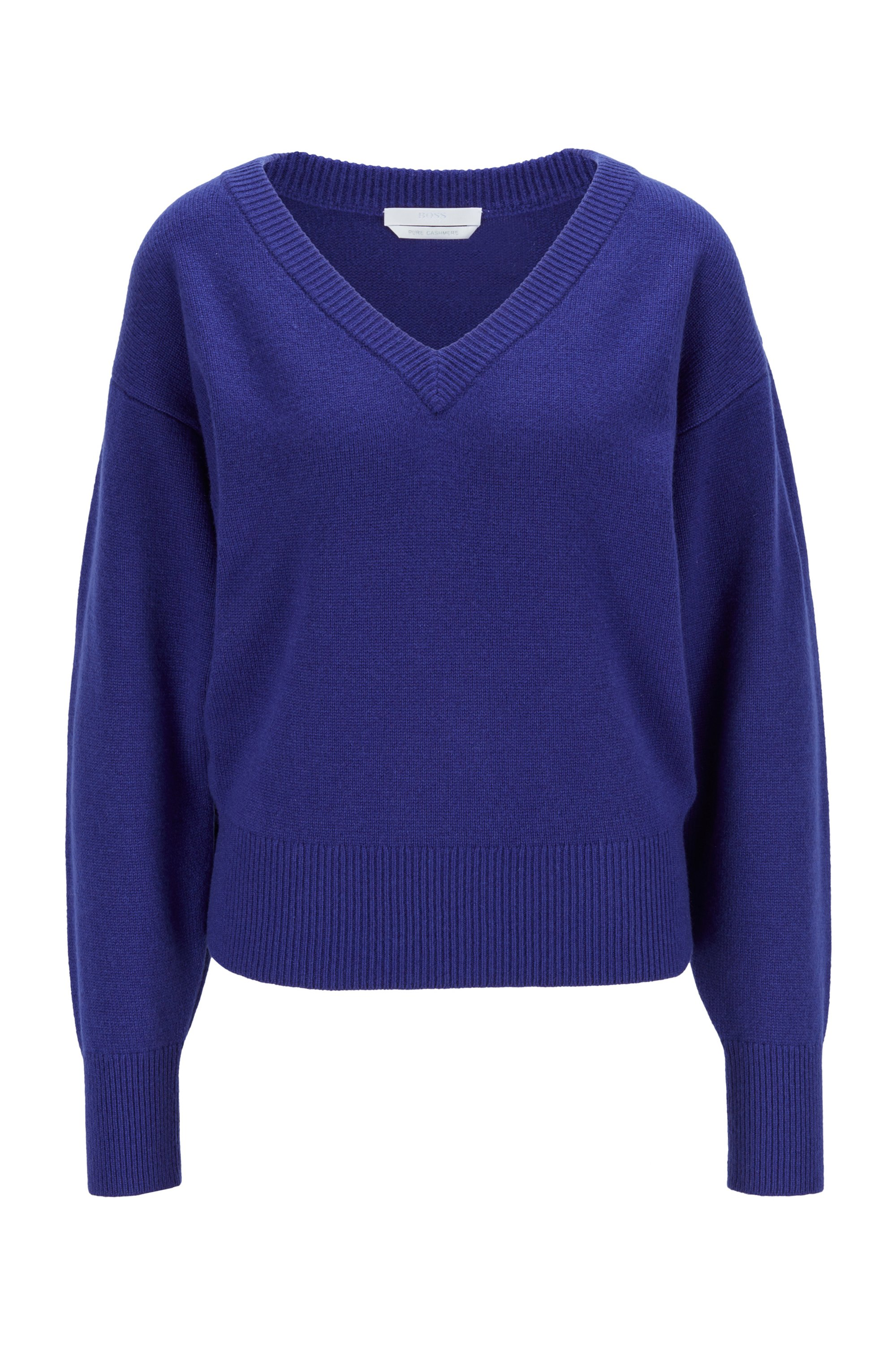 Relaxed-fit sweater in pure cashmere with balloon sleeves, Dark Purple