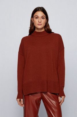 Relaxed-fit sweater in pure cashmere with mock neck, Brown