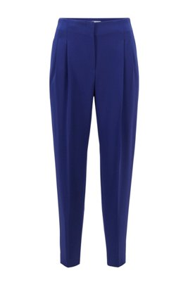 Cropped regular-fit pants in Japanese stretch crepe, Dark Purple