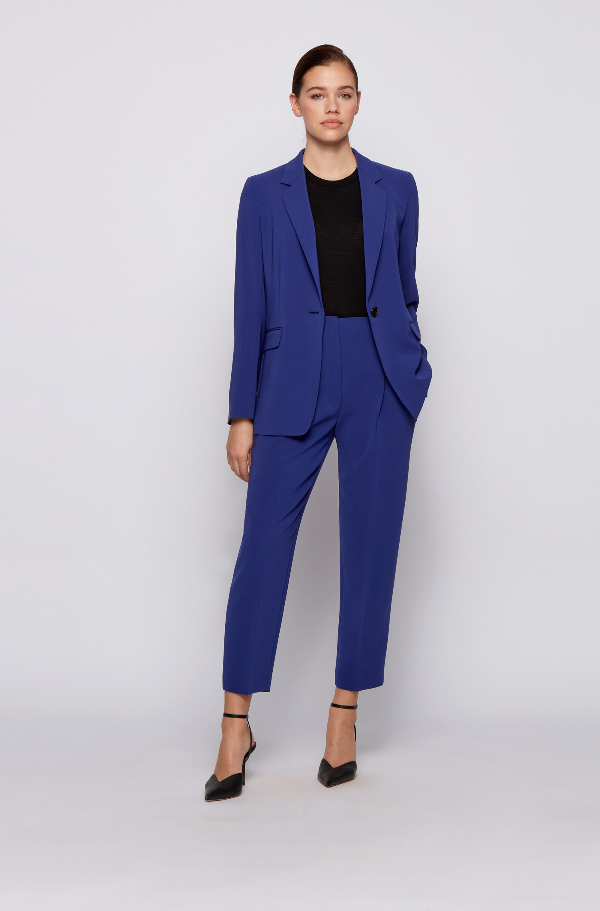 Cropped regular-fit pants in Japanese stretch crepe