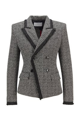 Double-breasted regular-fit jacket in stretch tweed, Patterned