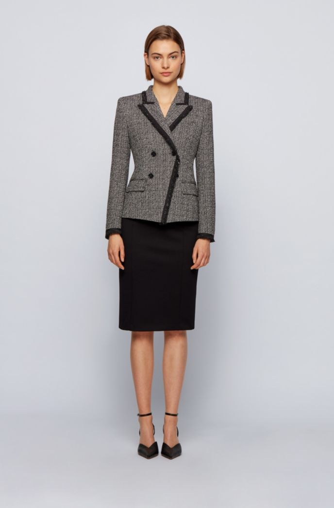 Double-breasted regular-fit jacket in stretch tweed