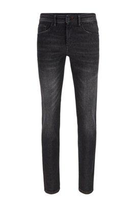 Skinny-fit jeans in black super-stretch denim, Dark Grey