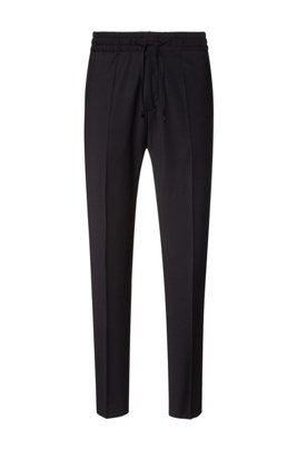 Extra-slim-fit pants in a super-stretch wool blend, Black