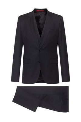 Extra-slim-fit three-piece suit in patterned virgin wool, Black