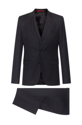 Extra-slim-fit three-piece suit in patterned virgin wool, Black