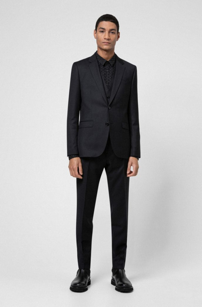 Extra-slim-fit three-piece suit in patterned virgin wool