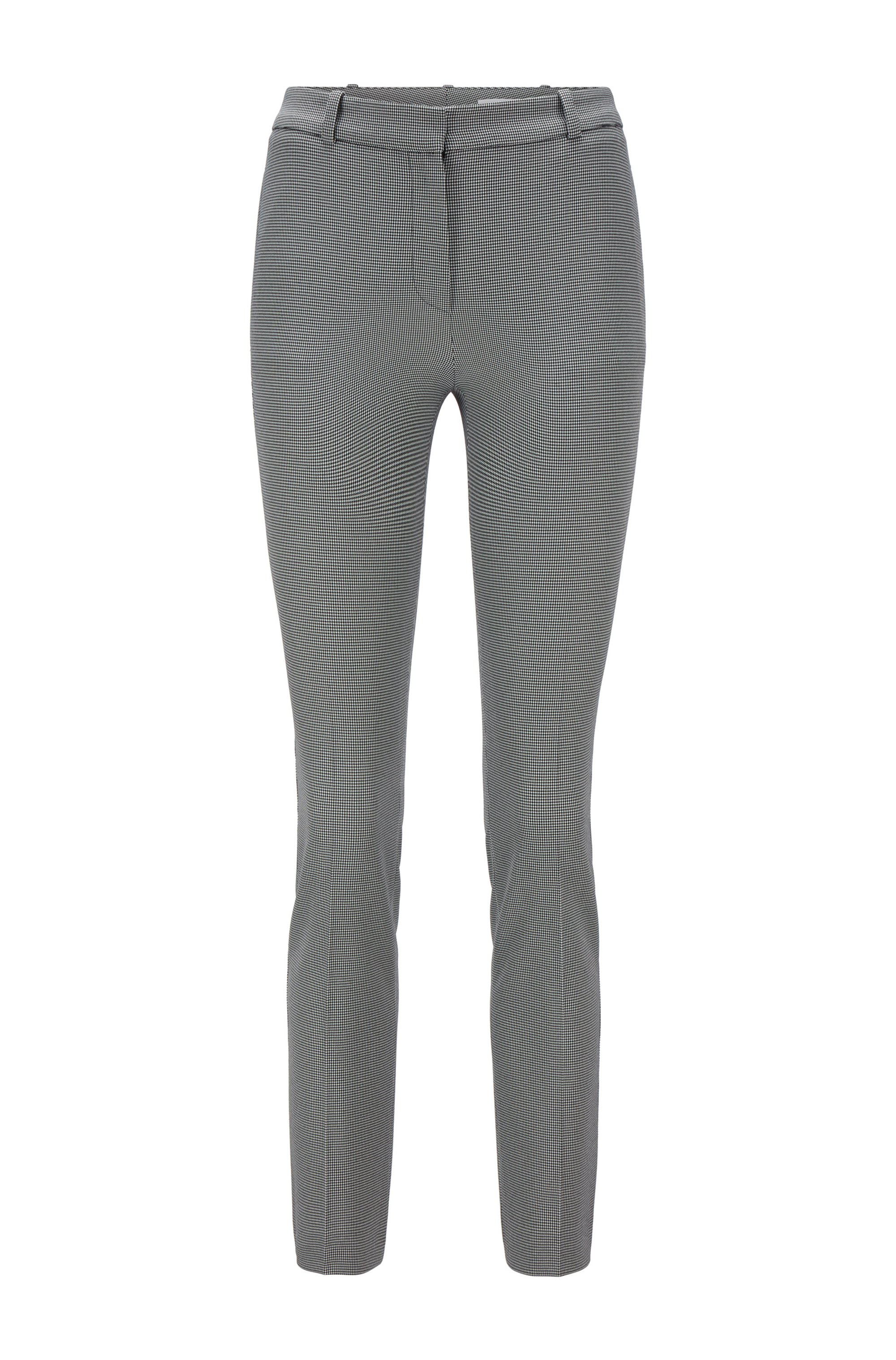 Cropped slim-fit pants in micro-houndstooth stretch fabric, Patterned