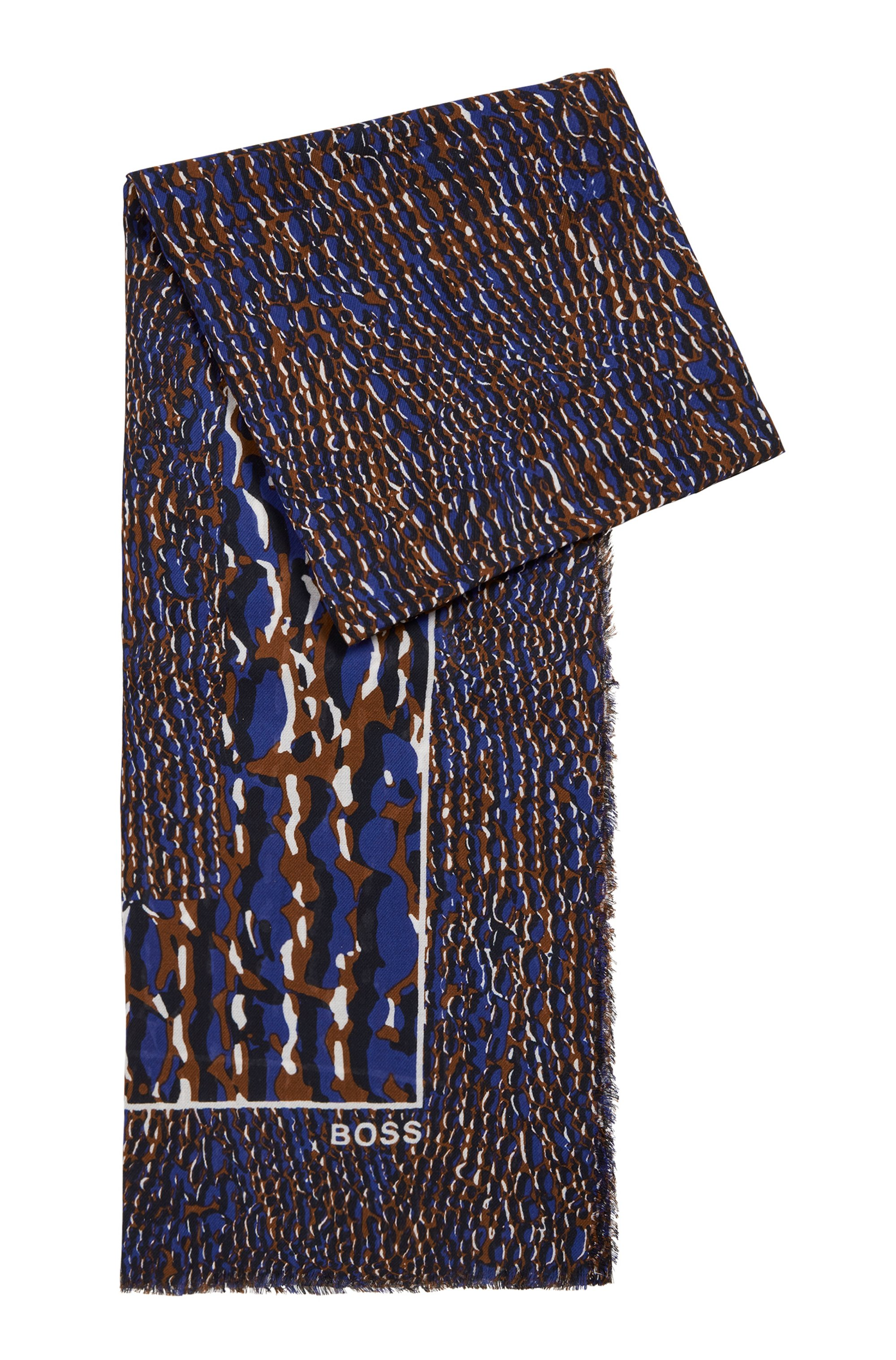 Seasonal-print scarf in cotton and modal, Patterned