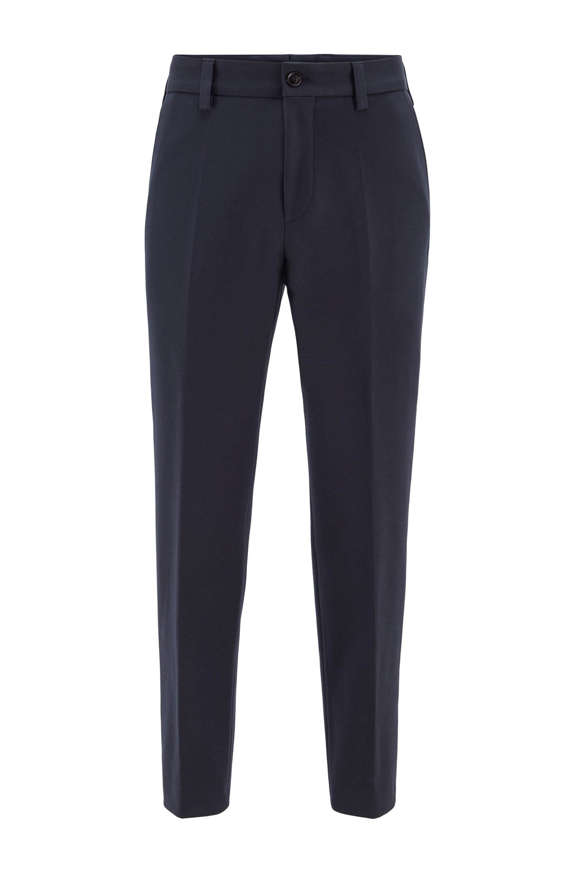 Cropped relaxed-fit pants in stretch cotton, Dark Blue
