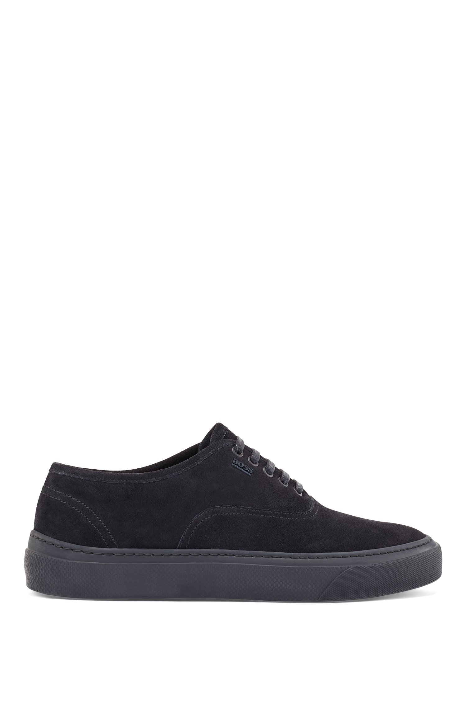 Italian-made trainers in suede with hardware logo, Dark Blue