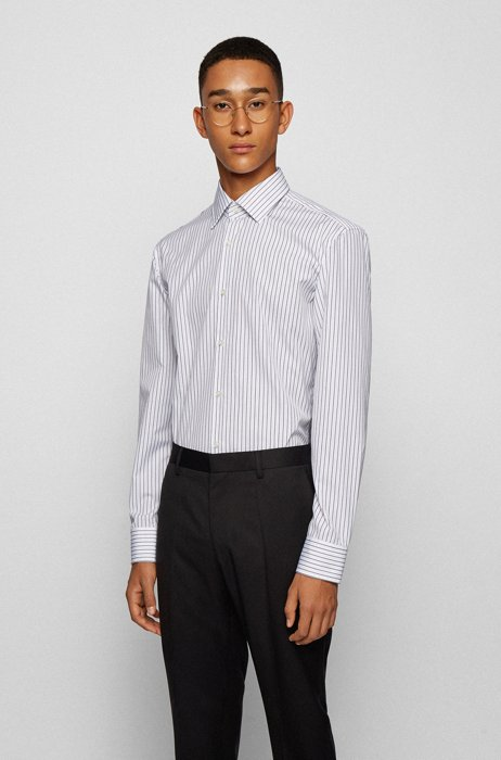Striped slim-fit shirt in easy-iron cotton, Black