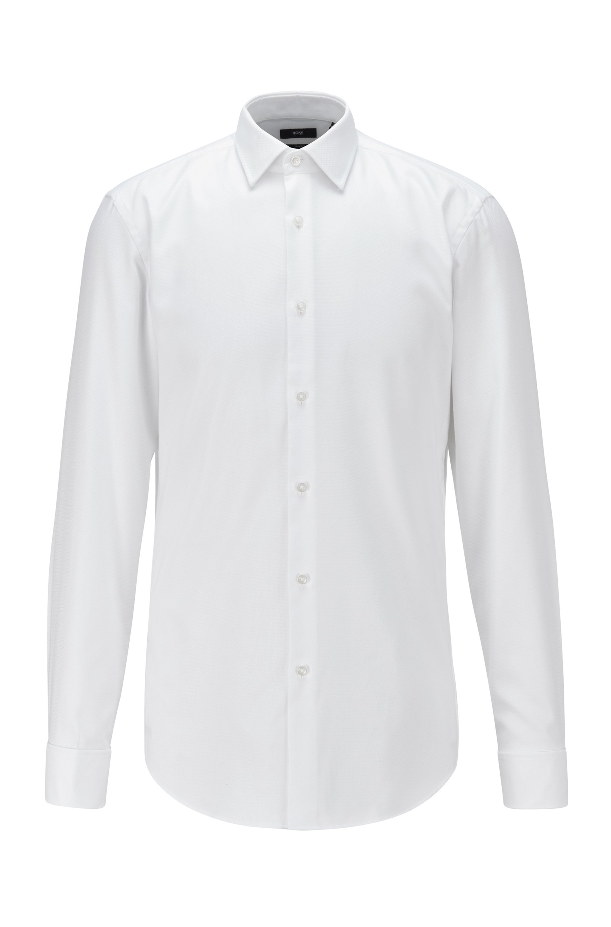 Easy-iron slim-fit shirt with double cuffs, White