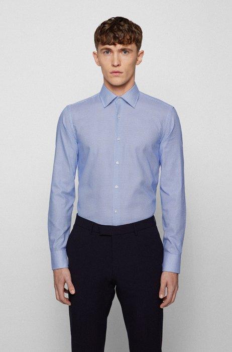 Slim-fit shirt in Italian cotton with geometric print, Light Blue