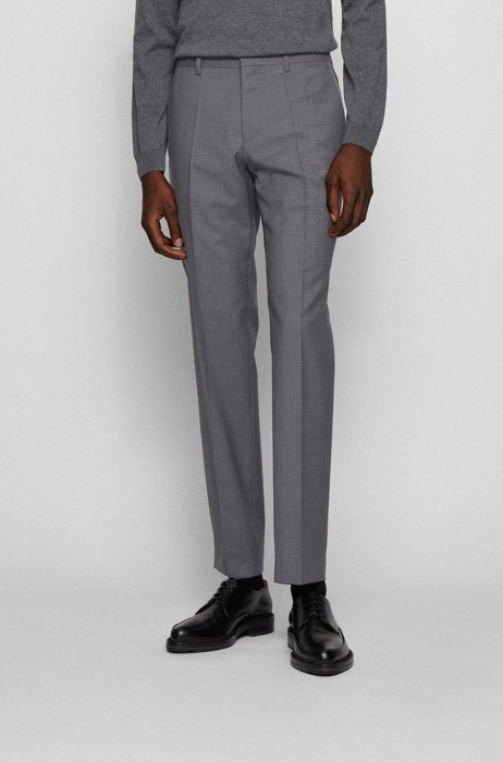 Slim-fit pants in patterned wool with piping details, Grey