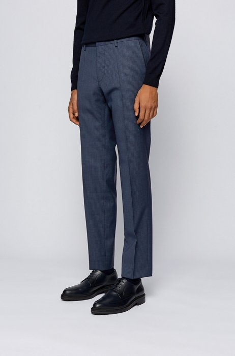 Slim-fit pants in patterned wool with piping details, Dark Blue
