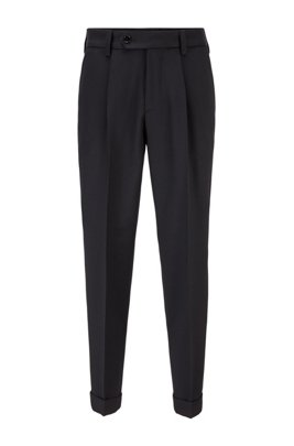Oversized-fit pants in micro-structured fabric, Black