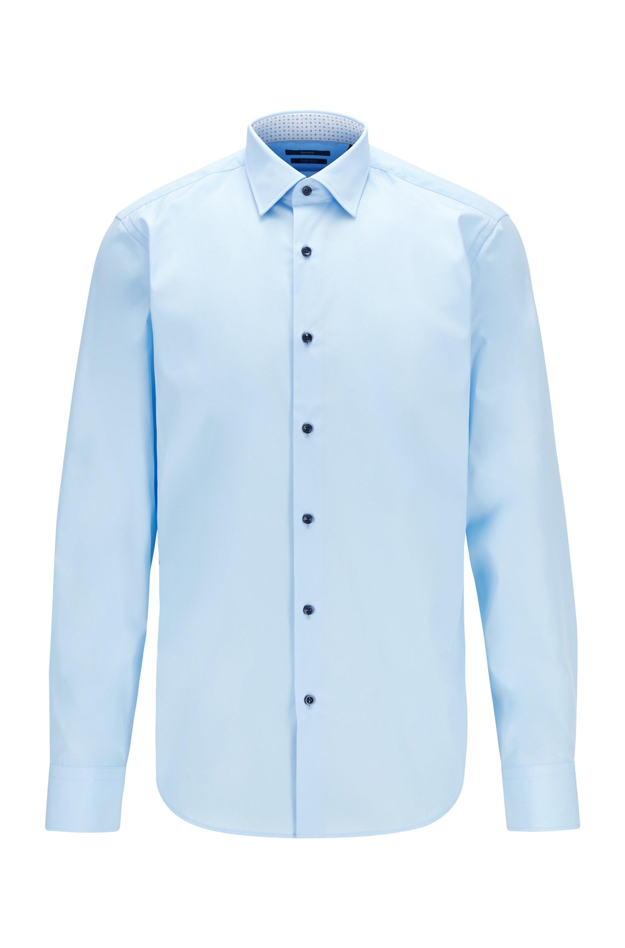 Easy-iron regular-fit shirt in cotton poplin, Light Blue