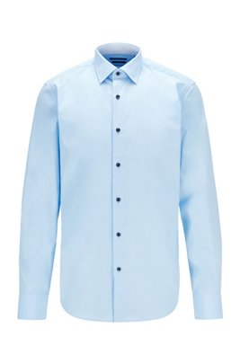 Easy-iron regular-fit shirt in cotton poplin, Light Blue