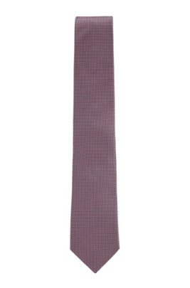 Italian-made silk tie in micro-dot jacquard, light pink