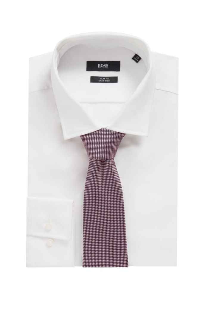 Italian-made silk tie in micro-dot jacquard