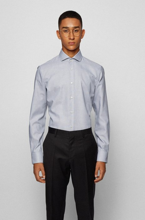 Easy-iron slim-fit shirt in structured cotton, Silver
