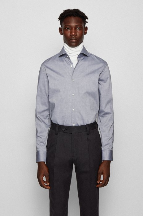 Easy-iron slim-fit shirt in structured dobby cotton, Black