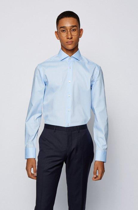 Easy-iron slim-fit shirt in structured dobby cotton, Light Blue