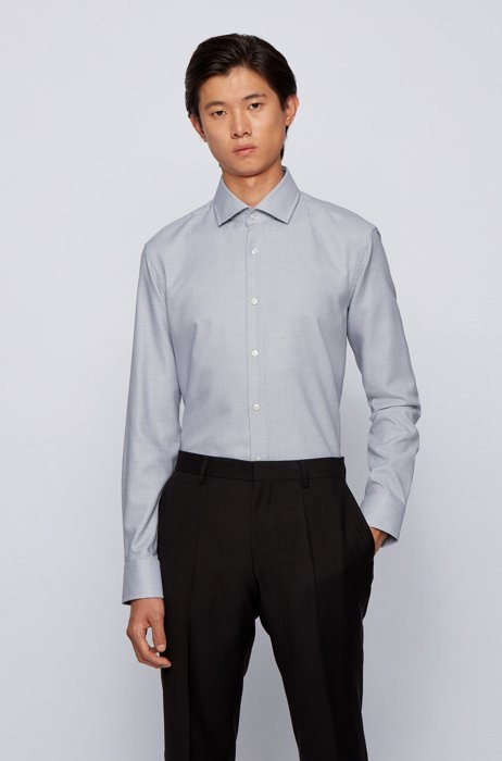 Easy-iron regular-fit shirt in micro-structured cotton, Black