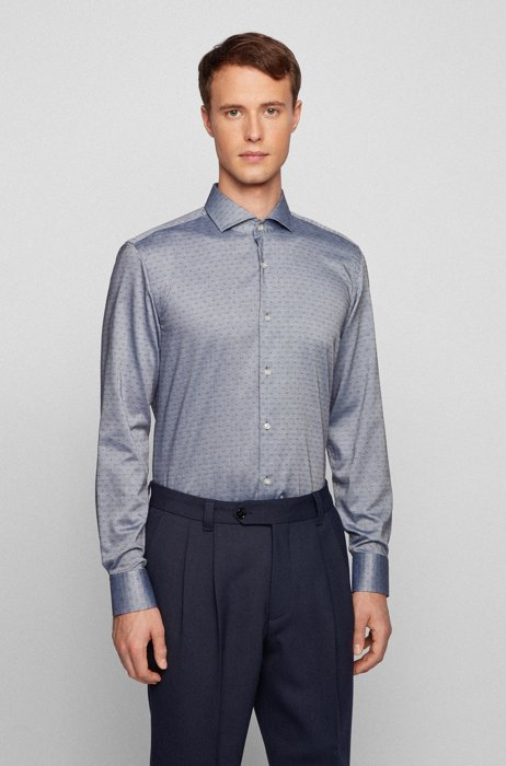 Easy-iron slim-fit shirt in patterned Oxford cotton, Dark Blue