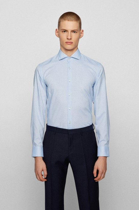 Easy-iron slim-fit shirt in pin-point cotton dobby, Light Blue