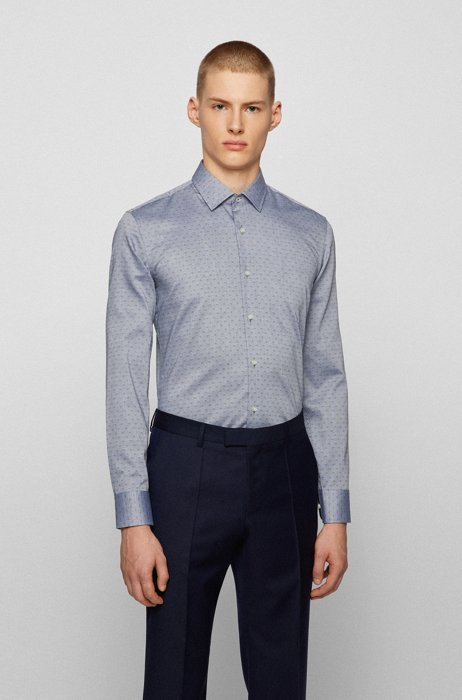Slim-fit shirt in dobby-patterned Oxford cotton, Dark Blue