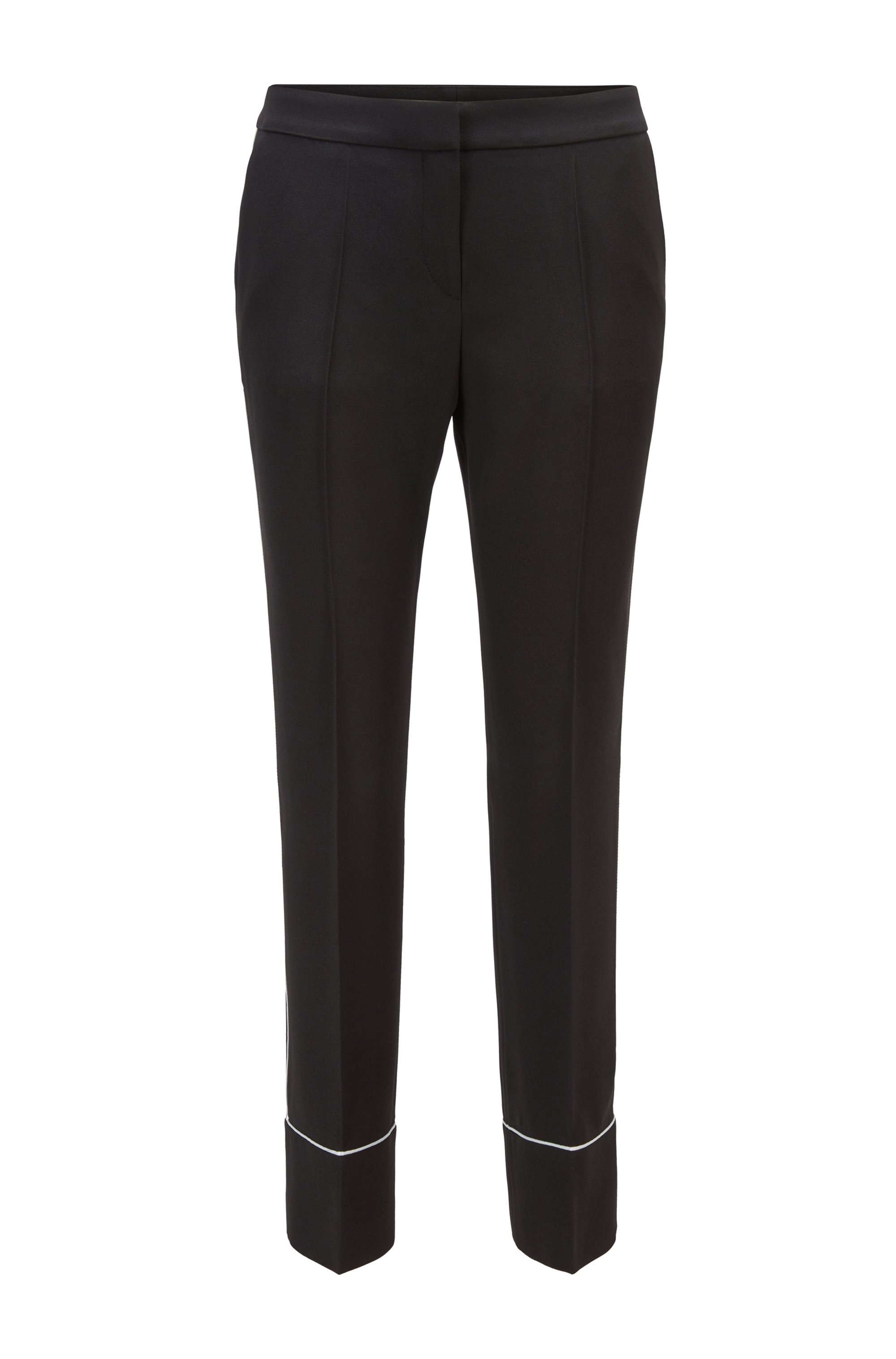 Relaxed-fit pants in Italian crepe with contrast piping, Black