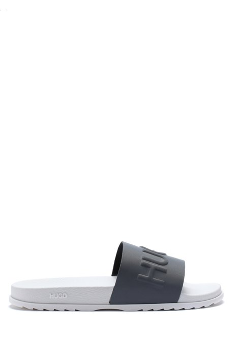 Italian-made slides with logo strap, Silver