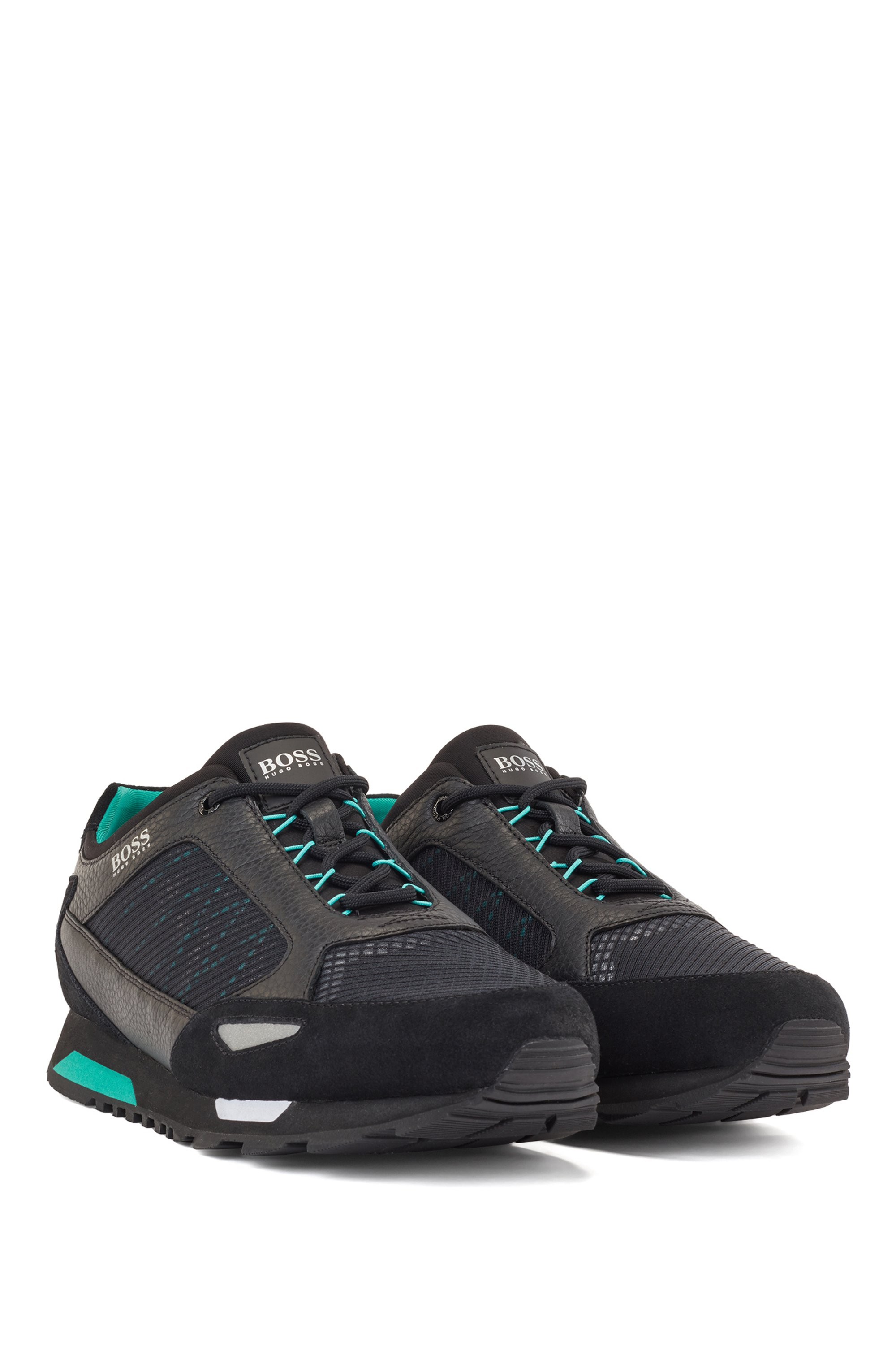 Running-style trainers in suede, leather and ripstop nylon