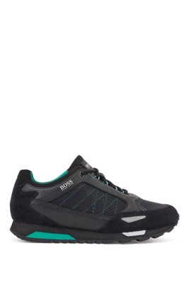 Running-style trainers in suede, leather and ripstop nylon, Black