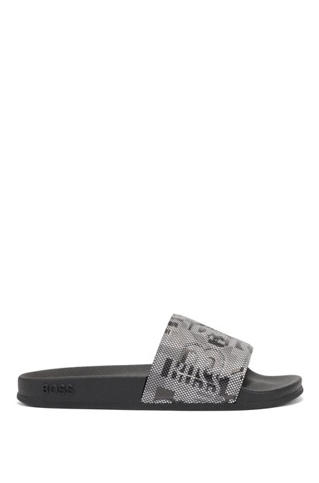 Italian-made slides with branded camouflage strap, Black
