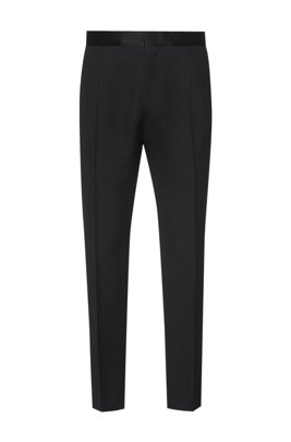 Straight-fit formal pants with silk trims, Black