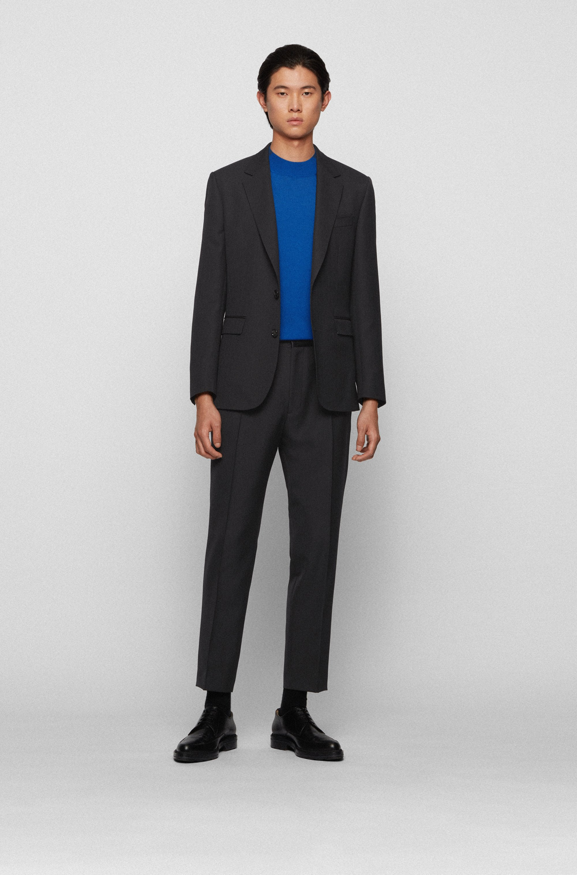 Straight-fit formal pants with silk trims
