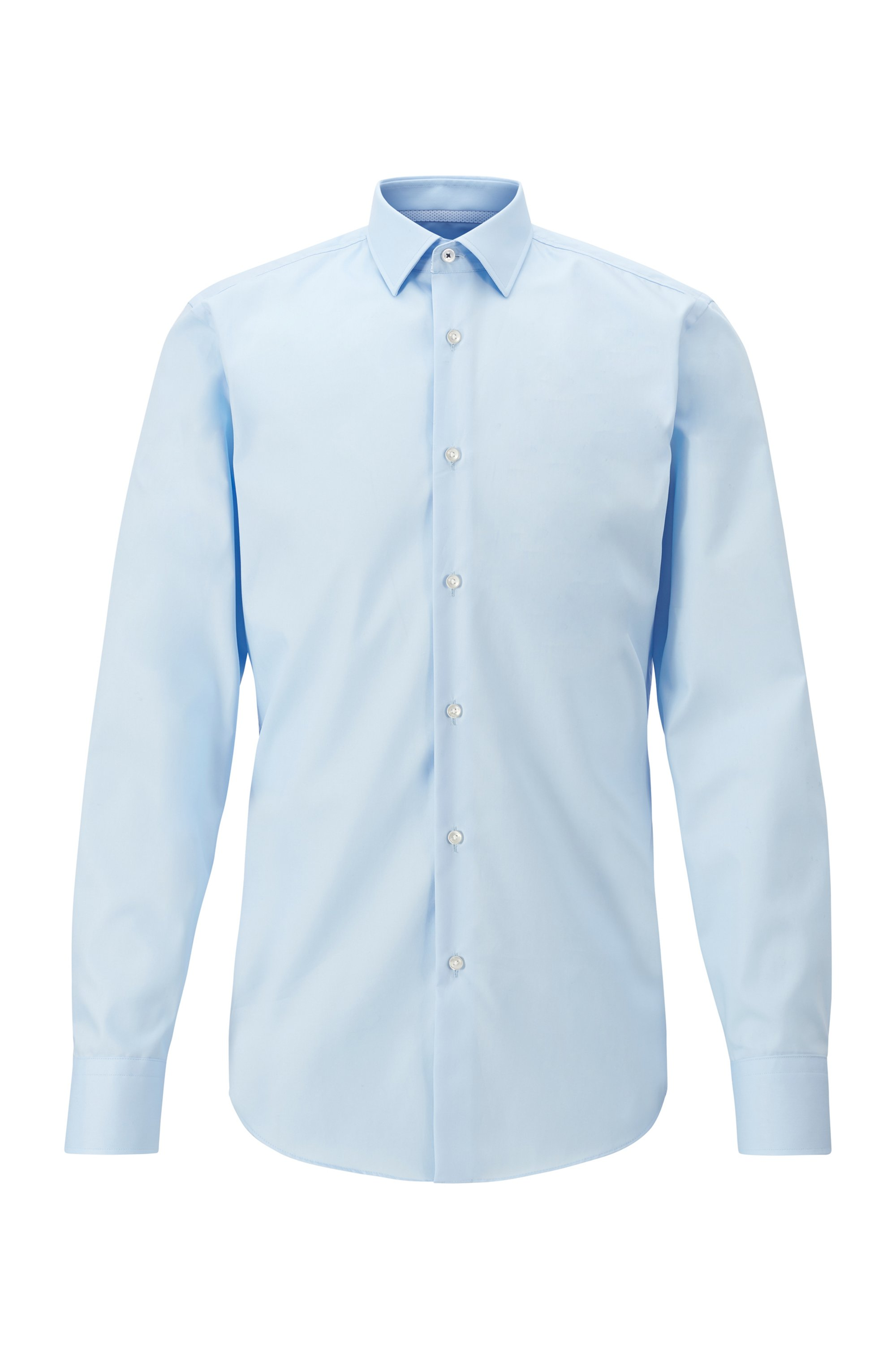 Slim-fit shirt in easy-iron cotton woven in Austria, Light Blue