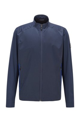 Regular-fit water-repellent jacket with logo artwork, Dark Blue