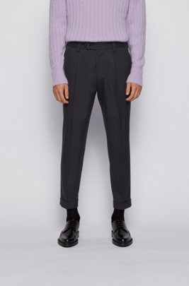 Oversized-fit pants in a micro-patterned cotton blend, Black