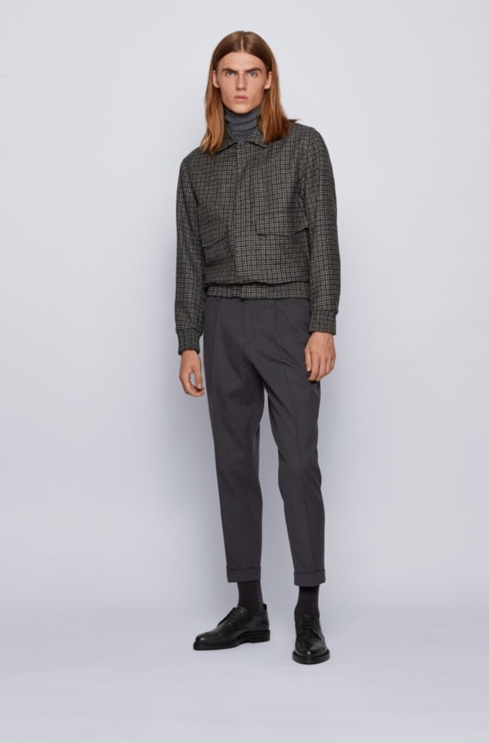 Oversized-fit pants in a micro-patterned cotton blend